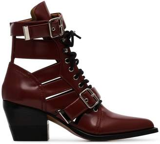 Chloé burgundy Reilly 60 buckle embellished ankle boots