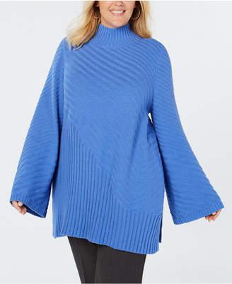 Charter Club Plus Size Patterned Mock Turtleneck Sweater