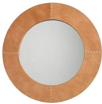 Jamie Young Cross Stitch Mirror - Buffalo Leather