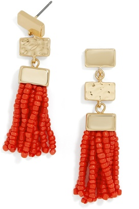 BaubleBar Vivian Tassel Drops-Coral Red