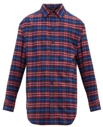 Balenciaga Checked Cotton Flannel Shirt - Mens - Blue Multi
