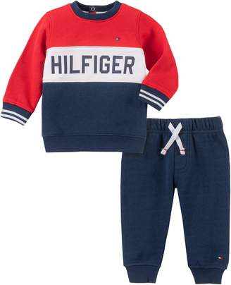 Tommy Hilfiger Baby Boy's 2-Piece Cotton-Blend Fleece Sweater Jogger Pants Set