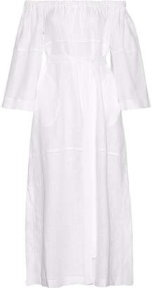 Lisa Marie Fernandez - Off-the-shoulder Pointelle-trimmed Linen-gauze Maxi Dress - White $775 thestylecure.com