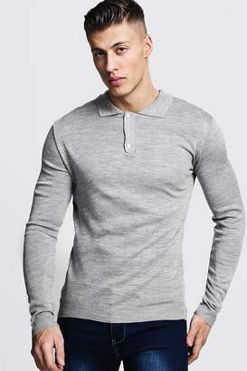 boohoo Regular Long Sleeve Knitted Polo