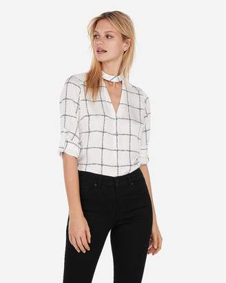 Express Satin Windowpane Choker Button Front Chelsea Popover