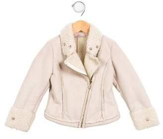 Miss Blumarine Girls' Embellished Faux Shearling Jacket