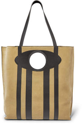 Loewe Chair Large Suede And Leather Tote - Sand