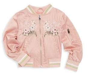 Urban Republic Little Girl's Floral Embroidery Bomber Jacket