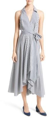 Women's Milly Stripe Midi Wrap Dress