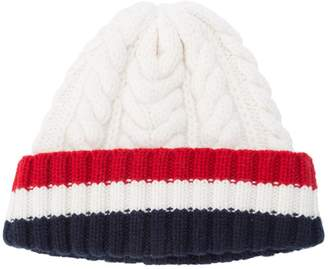 Thom Browne Aran Cable Hat With Red, White And Blue Hem Stripe In White Cashmere