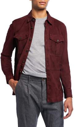 Ralph Lauren Barron Suede Shirt Jacket, Burgundy