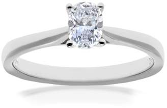 N. Naava Women's 18 ct White Gold Four Claw Gallery Set G/VS2 EGL Certified Oval Cut 0.50 ct Diamond Solitaire Engagement Ring, Size O