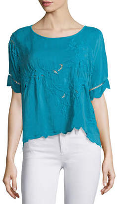 Johnny Was Flo Short-Sleeve Embroidered Top, Plus Size $230 thestylecure.com