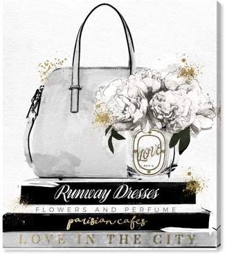 Oliver Gal Runway Avenue 'My Purse and Books Classic' | Fashion Handbags Wall Art - Gray Purse with White Roses Floral | Modern Contemporary Canvas Art Print, 20x24 inch