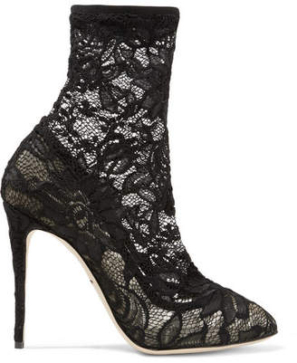... Dolce & Gabbana Stretch-lace And Tulle Sock Boots - Black