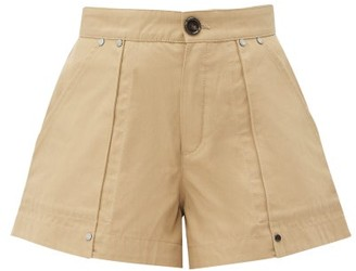 Chloé Patch Pocket Cotton Canvas Shorts - Womens - Light Brown