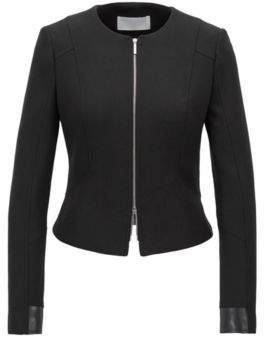 BOSS Hugo Cropped blazer in stretch crepe faux-leather patchwork 4 Black