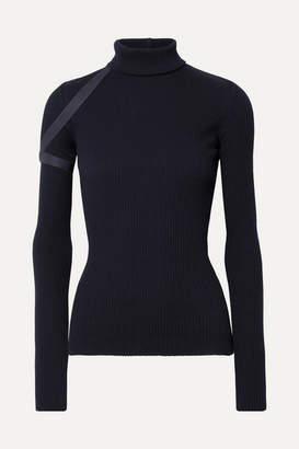 Helmut Lang Elastic-trimmed Ribbed Cotton Turtleneck Top - Navy