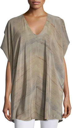 Eileen Fisher Short-Sleeve Grove-Print Silk Tunic, Mocha $278 thestylecure.com