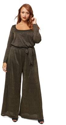 Wide Leg Sweater Jumpsuit Wl - Black/ Gold