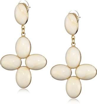 Yochi Ivory Cross Chandelier Earrings