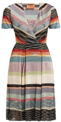 Missoni V Neck Lame Striped Midi Dress - Womens - Black Multi