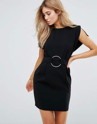 Asos DESIGN Split Sleeve Cap Sleeve Mini Dress with Circle Belt
