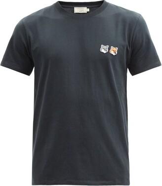 MAISON KITSUNÉ Double Fox Head Cotton Crew Neck T Shirt - Mens - Grey