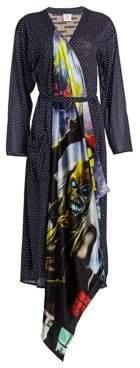 Vetements Contrast Spot Robe Wrap Dress