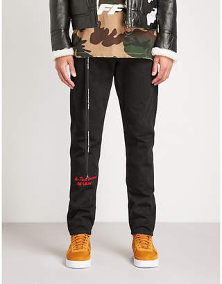 Off-White Embroidered slim-fit straight jeans