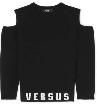 Versace Cold-shoulder Printed Stretch-jersey Top - Black