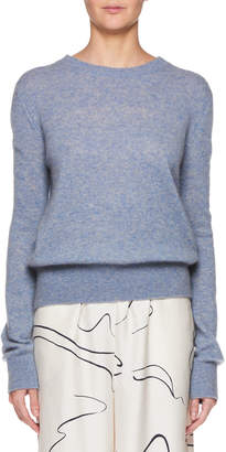 The Row Minco Crewneck Long-Sleeve Cashmere-Silk Top