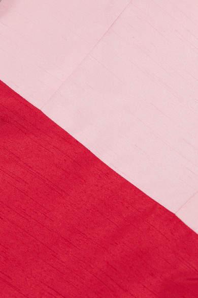 Staud - Enzo Two-tone Shantung Dress - Red 2