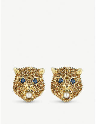 Gucci Le Marché des Merveilles 18ct yellow-gold, citrine quartz, blue topaz and pearl earrings