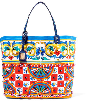 Dolce & Gabbana - Leather-trimmed Embellished Printed Canvas Tote - Red $2,175 thestylecure.com
