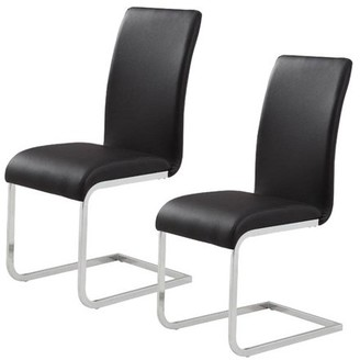 WHI Faux Leather/Chrome Side Chair, Black (set of 2)