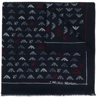 Emporio Armani (エンポリオ アルマーニ) - Emporio Armani knitted logo scarf