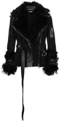 Alexander McQueen Suede and Shearling Biker Jacket