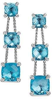 David Yurman Châtelaineé Blue Topaz& Diamonds Linear Chain Earrings