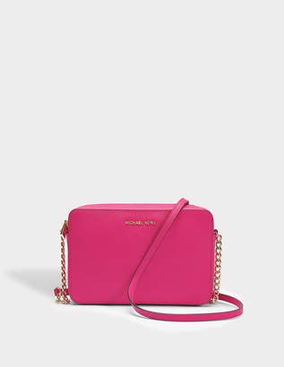 MICHAEL Michael Kors Large EW Crossbody Bag in Ultra Pink Saffiano Leather