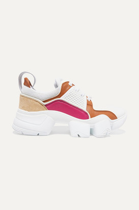 Givenchy Jaw Mesh And Suede-trimmed Leather, Neoprene And Rubber Sneakers - White