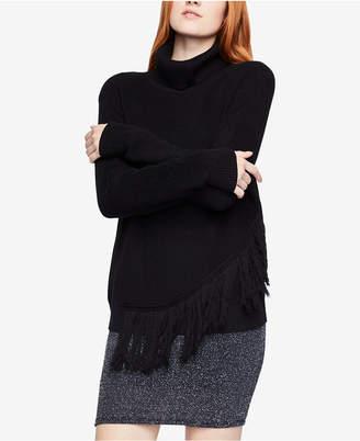 BCBGeneration Asymmetrical Fringed Turtleneck Sweater
