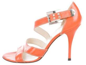 Versace Leather Ankle-Strap Sandals