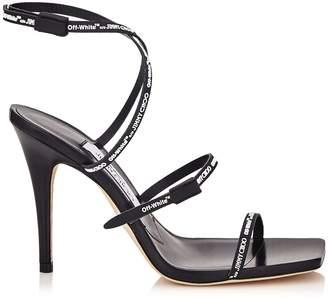 Jimmy Choo JANE 100 Black Logo Rubber Strap Sandals