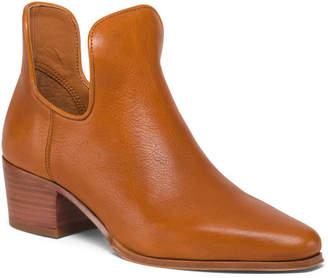 Franco Sarto Leather Stacked Heel Booties
