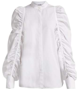 Jil Sander Ruched Sleeve Cotton Shirt - Womens - White