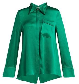 Roland Mouret Algar Hammered Silk Blend Blouse - Womens - Green