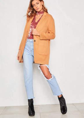 Missy Empire Missyempire Jessika Camel Wool Boyfriend Coat