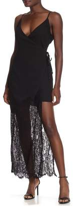 Adelyn Rae Lola Lace Hem Maxi Slip Wrap Dress