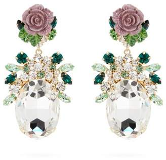 Dolce & Gabbana Crystal Embellished Floral Drop Earrings - Womens - Purple
